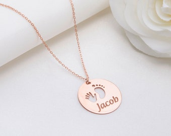 Name Necklace Mothers Day Gift Gift for Mama Baby Name Necklace New Mom Necklace Custom Mom Gift Baby Feet Necklace