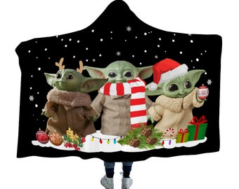 Baby Alien Christmas Scene Polar Fleece Hooded Blanket the Child with Reindeer Ears Scarf & Santa Hat Christmas Lights Gifts and Baubles