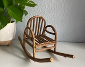 Vintage Wood Chair Bentwood Chair Oak Wooden Mini Doll Rocking Chair Plant Stand Flower Planter Pot Wicker Peacock Chair