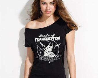 Bride of Frankenstein Tee- Women's Fitted Tee Horror T-Shirt- Goth - Gothic - Monster Love -Alternative Fashion - S- 4XL