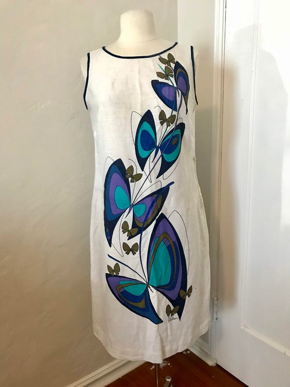 60's Alfred Shaheen printed Shift Dress.