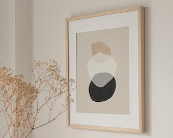 Downloadable Beige Black Print,Neutral Printable Art,Abstract Shapes Print,Minimalist Wall Art,Boho Home Decor,Geometric Exhibition Poster