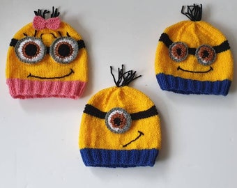 Knitting Pattern Minion Hat Minion Booties hat booties beanie Minion Knit hat pattern minion knit booties pattern character hat novelty hat