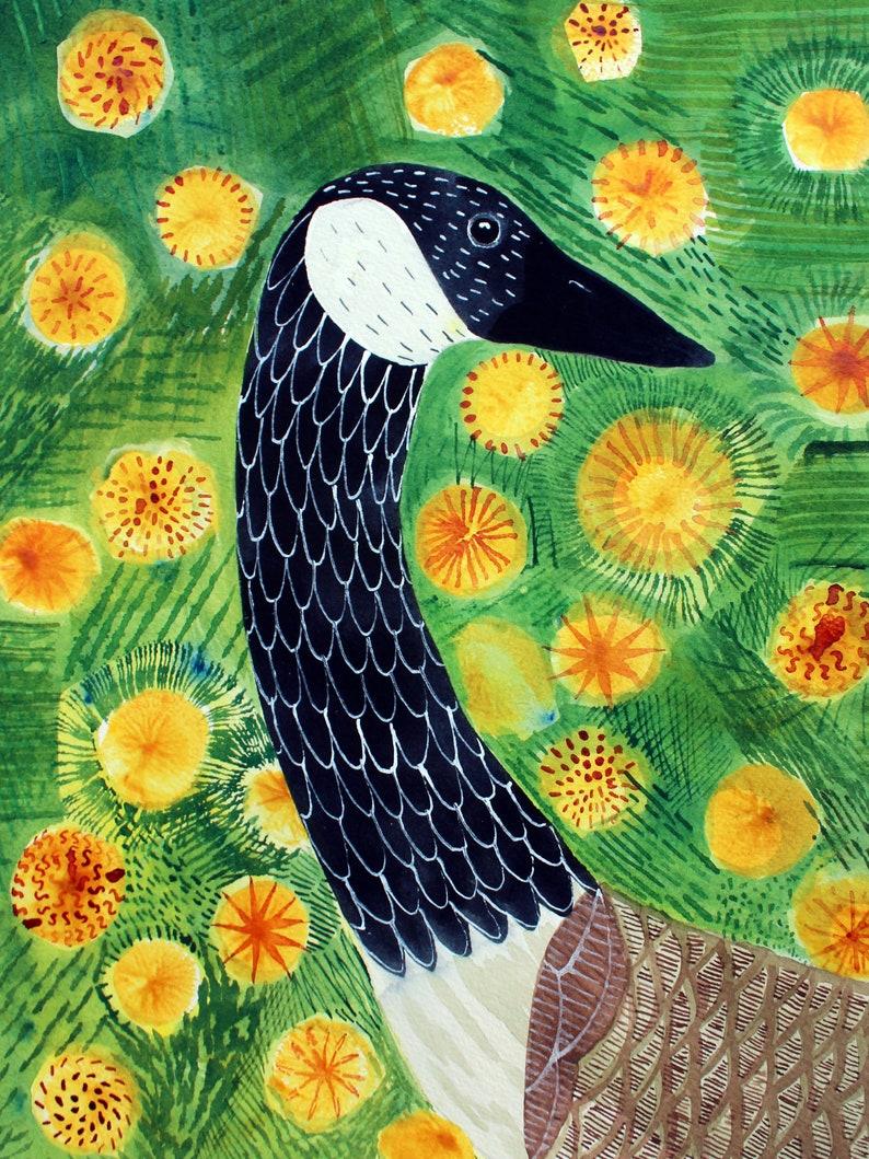 Goose with DandelionsOriginal ArtReady to Hang image 0
