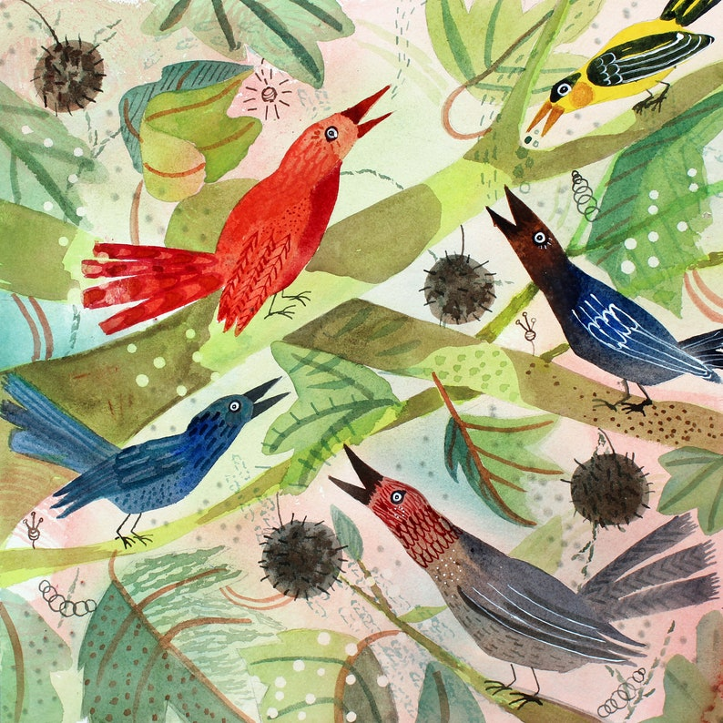 Birds Singing in a Sycamore Tree  Original Art  Ready to image 1