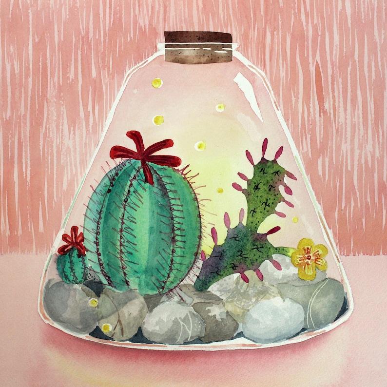 Cactus Terrarium  Original Art image 0