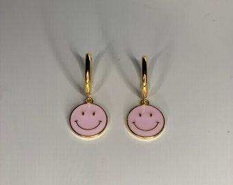 Smiley face earrings • gold • handmade
