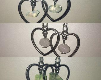 Heart Gem Silver Earrings | Fluorite, Rose Quartz, Opalite