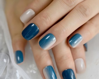 Blue Ombre Nails Etsy