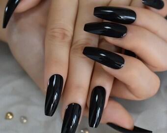 Black Press On Nails Etsy