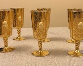 Set of 6- Gold Dipped Wine Glasses- Vintage with