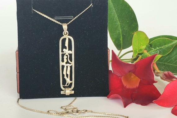Egyptian Cartouche with Hieroglyphics Necklace - V