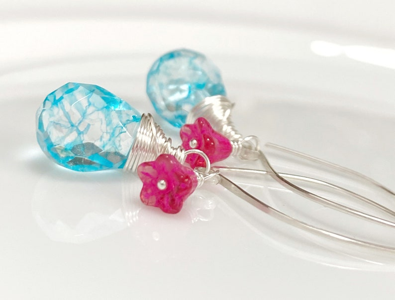 Aqua Blue Glass Earrings with Pink Flowers  Sterling Silver  Dainty Earrings  Colorful Earrings  Everyday Earrings  Gift For Her