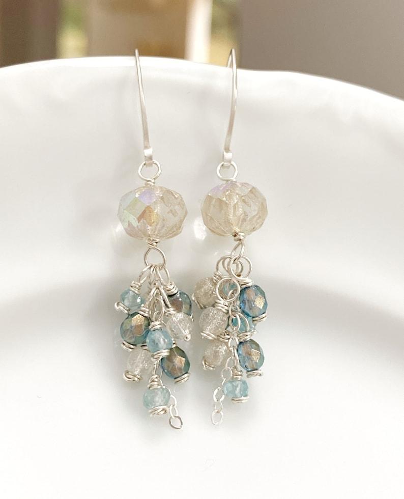 Sterling Silver Dangles with Blue Zircon and Czech Glass  Beaded Earrings  Gemstone Earrings  Gift For Her  Unique Earrings