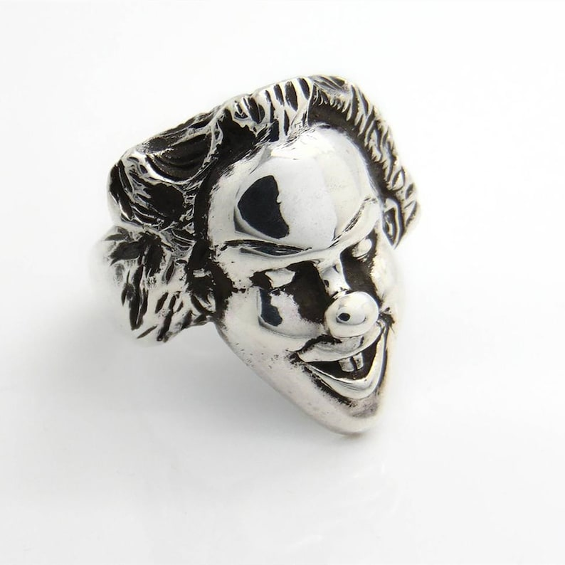 Clown Rings Retro Personality Rings Male And Female Personality Thai Silver Rings Index Finger Ring Clown Mask Ring Smiling Clown Rings
