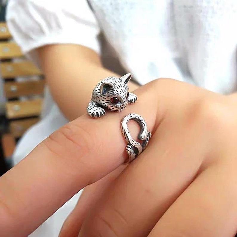 Three-dimensional Cute Animal Rings Thai Silver Cat Ring Mens Ring Thumb Ring Adjustable Opening Cat Rings Personalized Lucky Cat Rings