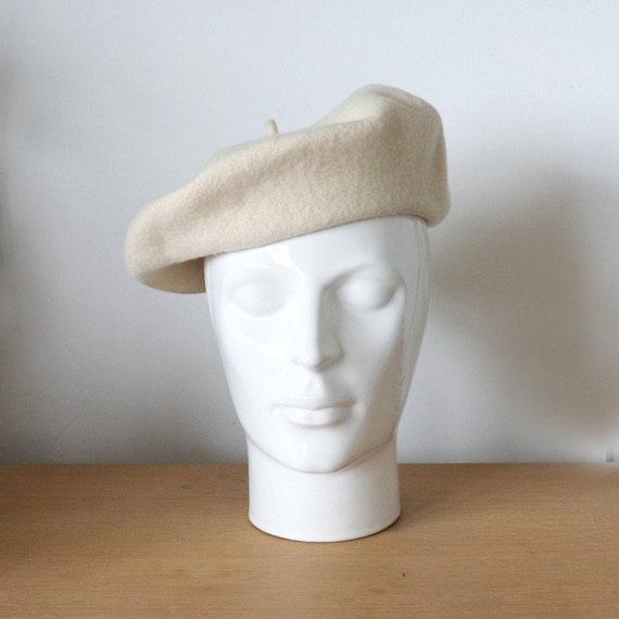 Vintage white beret | Classic Wool beret | French