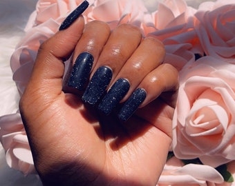 Black sparkle press on nails   nails   black nails   fake nails   glued nails   birthday nails   fall nails   Christmas nails   acrylic nail