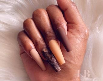 Shade of melanin press on nails   fall nails   glued nail   fake nails   birthday nails   ready to ship nails