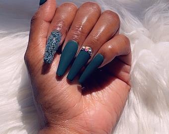Pine Green Press On Nails   glued nails   custom nails   fake nails