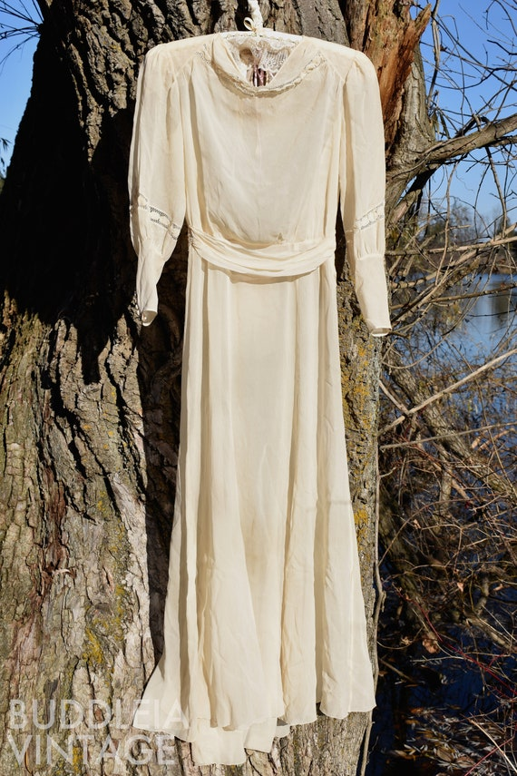Ethereal 1930s Lace-Inset Petite Crepe Dress (as-i