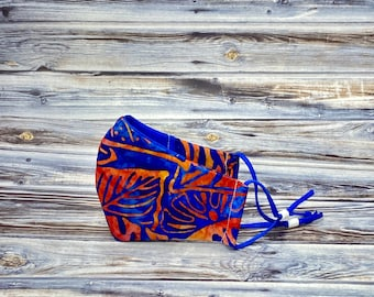 Blue and Orange Batik Face Mask, Adult Face Mask, Trendy Face Mask, Washable Face Mask, Reusable Face Mask, 100% Cotton Face Mask, Palm