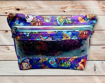 Pop Art Bag, Clear View Cosmetic Bag, Character Bag, Custom Zipper Bag, Colorful Cosmetic Bag, Handmade Makeup Bag
