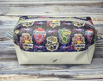 House Crests Boxy Bag, Hogwarts bag, Harry Potter Bag, Gryffindor, Ravenclaw, Hufflepuff, Slytherin, Zipper Bag, Cosmetic, Makeup