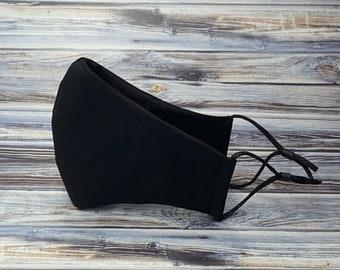 Black Face Mask, Adult Face Mask, Washable Mask, Cotton Mask, Reusable Mask, Mask with Filter Pocket, 100% Cotton Face Mask