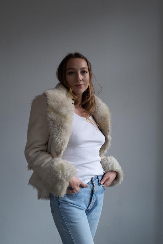 Say What Girls Sweater Ivory Large L Faux-Fur Drape Cardigan Vest White Ivory 14-16