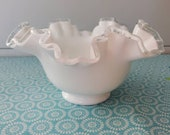 Fenton Silvercrest Ruffled Milk glass candy dish with clear glass ruffled rim. Vintage Fenton. Free shipping.