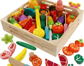 Cutting Cooking Toy Sets - Pretend Play Wooden Clean & Safe Kitchen by FAITHMOVEMT