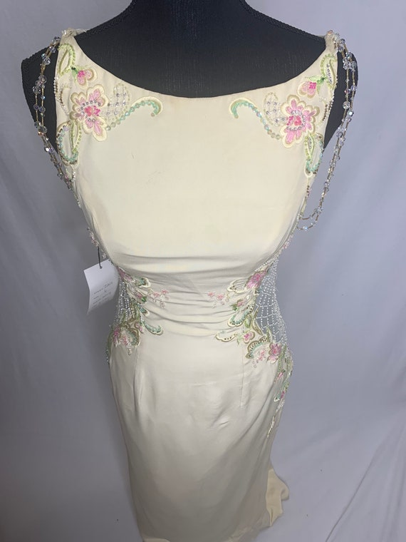 Vintage yellow and pink floral dress