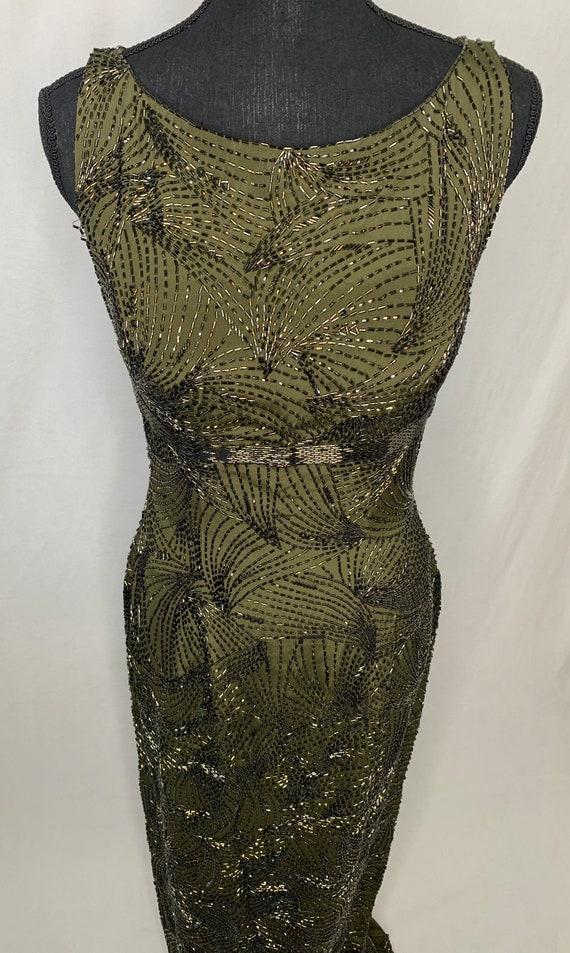 Green vintage  women's beaded gown