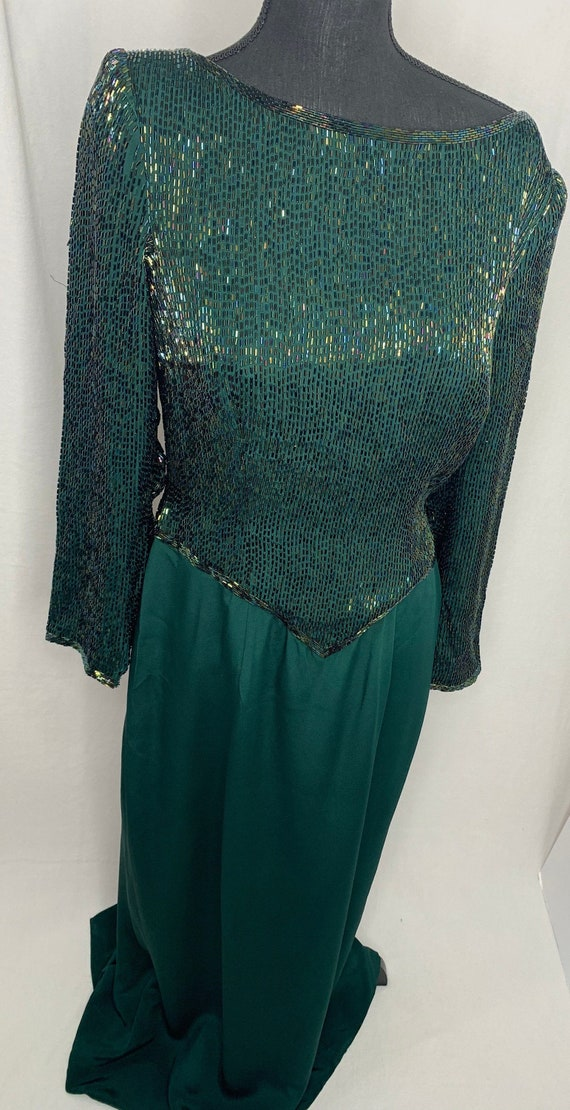 Fully beaded green vintage evening gown