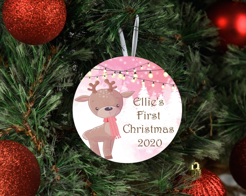 Baby/'s First Christmas 2020 Personalized Aluminum Ornament with Cute Reindeer