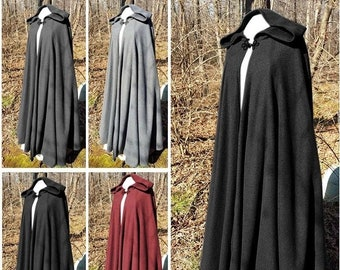 Adult Hooded Cloak Cosplay Medieval Long Cape Halloween Party Carnival Long Mage Witchcraft Wicca Robe Conceal Gown Reenactment