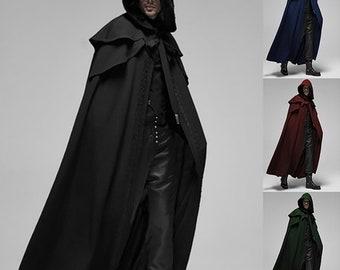 Gothic Men Cloak Coats Hooded Solid Loose Windproof Men's Trench Coat Men Chic Winter Long Cape Poncho