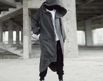 Unisex Long Sleeve Hooded Nazgul Long Coat Zipper Closure Fleece Lined Long Hoodie A66