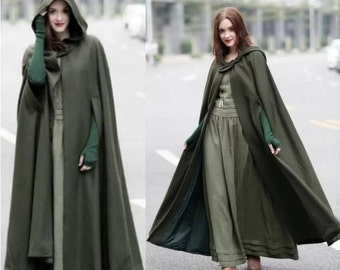 2020 New Women's Cloaks High Quality Solid Vintage Thick Hood Floor-Length Medieval Long Cape Hoods Overcoats Long Cloak