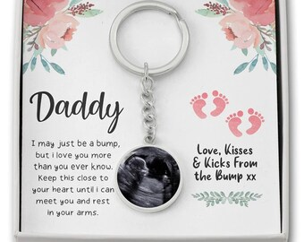 FREE GIFT BOX daddy to be gifts from bump Personalised scan keyring father to be gift scan photo keyring ultrasound keepsake