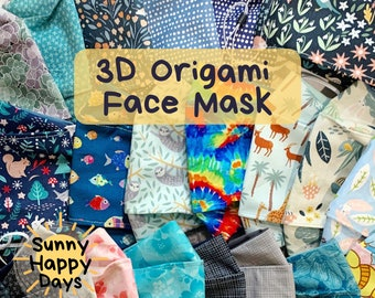 3D Origami Style Cotton Face Mask   Adjustable, Handmade, Washable, Mask for Glasses Wearers, Anti Fog, Floral, Tie-Dye, Everyday, 2-Layers