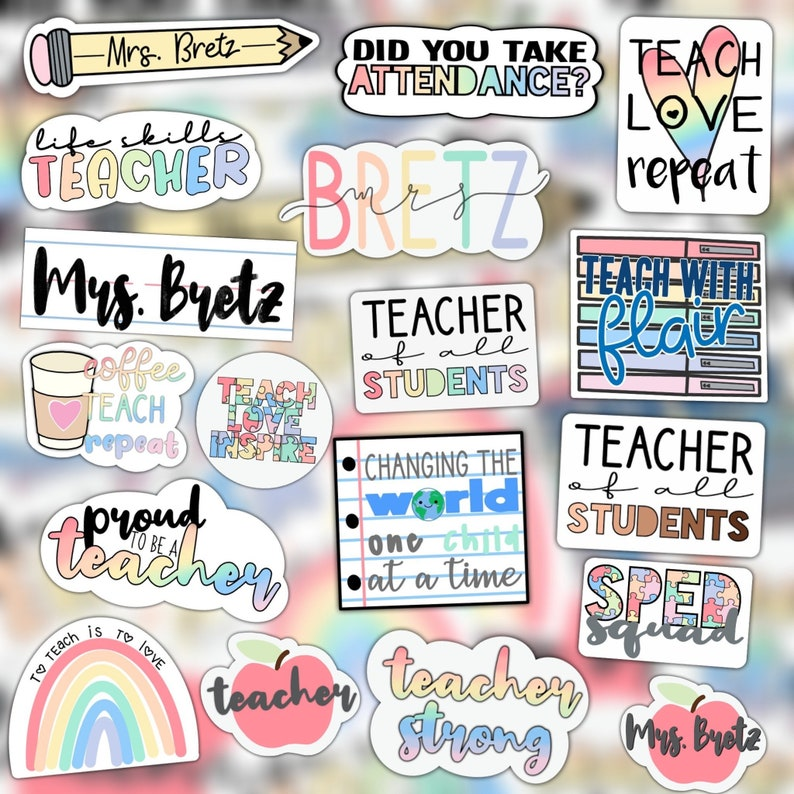 Teacher Sticker Pack  WATERPROOF image 0