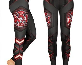 Fire Wives Red Heart Line Leggings Full Length or Capri Length