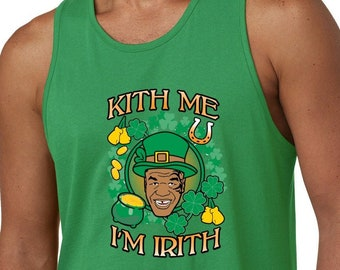 Mike Tyson Kiss Me I/'m Irith Funny Irish St Paddys  Irish Ladies Racerback Tank Top