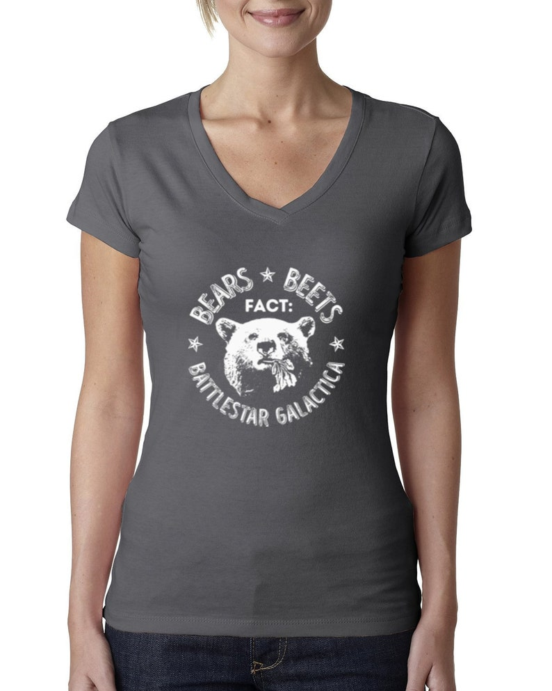 Office Fact Bears Beets Battlestar Quote Pop Culture Womens Junior Fit V-Neck Tee
