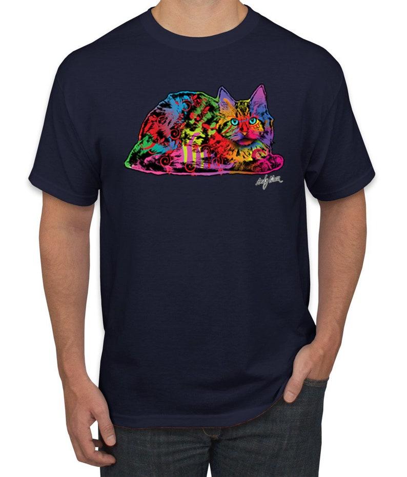 Colorful Rainbow Cat  Pop Culture Men/'s Graphic T-Shirt