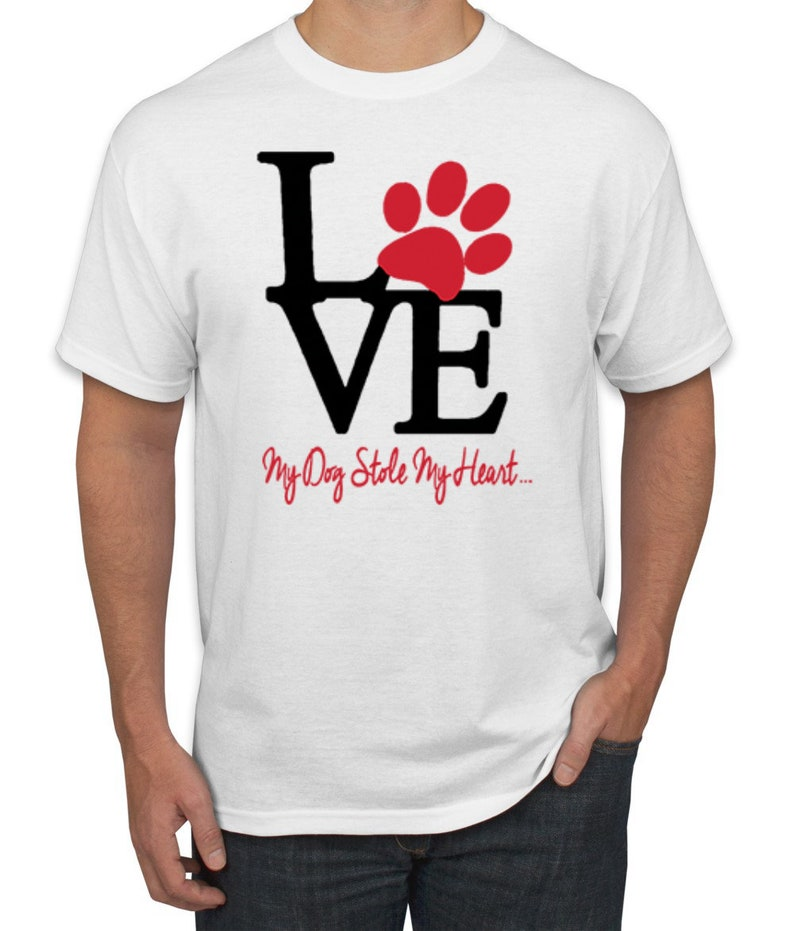 Love My Dog Stole My Heart Red Pawprints Dog Lover Men/'s Graphic T-Shirt