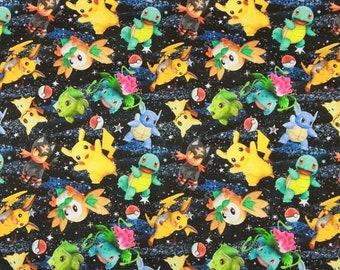 Cute Pokemon Fabric, Pikachu Cotton Cartoon Fabric, Sewing Fabric, Japanese Animation Fabric, By the Half Yard