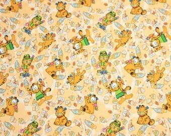 Garfield Cat Fabric, Orange Cat Kitty Cotton Cartoon Fabric, Sewing Fabric, Animation Fabric, By the Half Yard